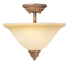 Livex Lighting 13-in W Venetian Patina Art Glass Semi-Flush Mount Light