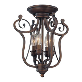 Millennium Lighting 12.5-in W Rubbed Bronze Semi-Flush Mount Light