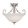 Millennium Lighting 16-in Satin Nickel Alabaster Glass Semi-Flush Mount Light