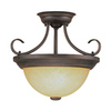 Millennium Lighting 13-in W Rubbed Bronze Frosted Glass Semi-Flush Mount Light