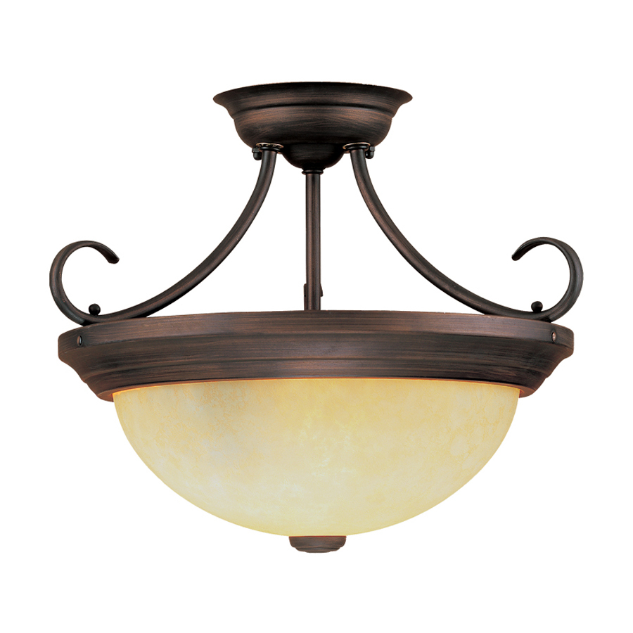 lighting 15 in w rubbed bronze semi flush mount light at