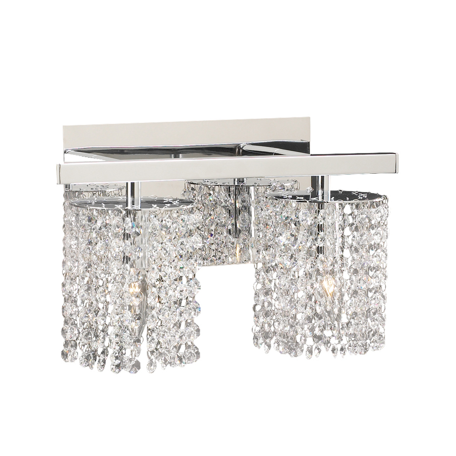 Crystal Vanity Lights For Bathroom : Shop PLC Lighting 2-Light Rigga Polished Chrome Crystal Bathroom Vanity Light at Lowes.com