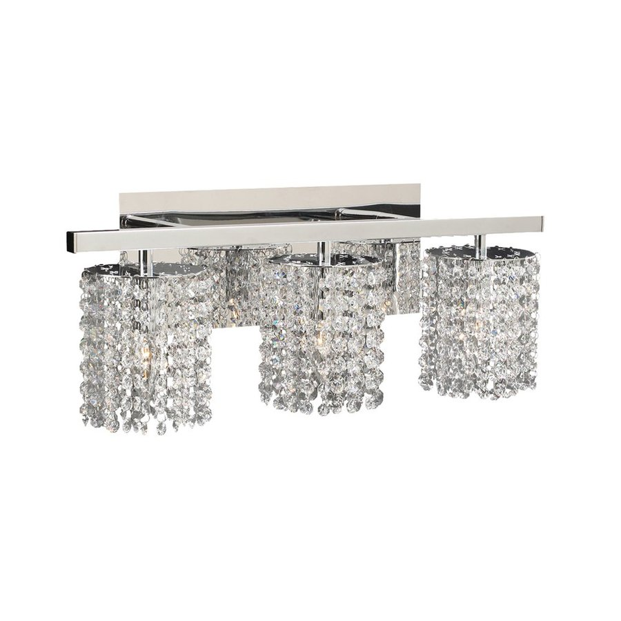 Shop PLC Lighting 3-Light Rigga Polished Chrome Crystal Standard Bathroom Vanity Light at Lowes.com