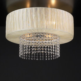 PLC Lighting 20-in W Polished Chrome Art Glass Ceiling Flush Mount