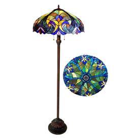 Chloe Lighting 62-in Bronze Shaded Floor Lamp Indoor Floor Lamp with Glass Shade