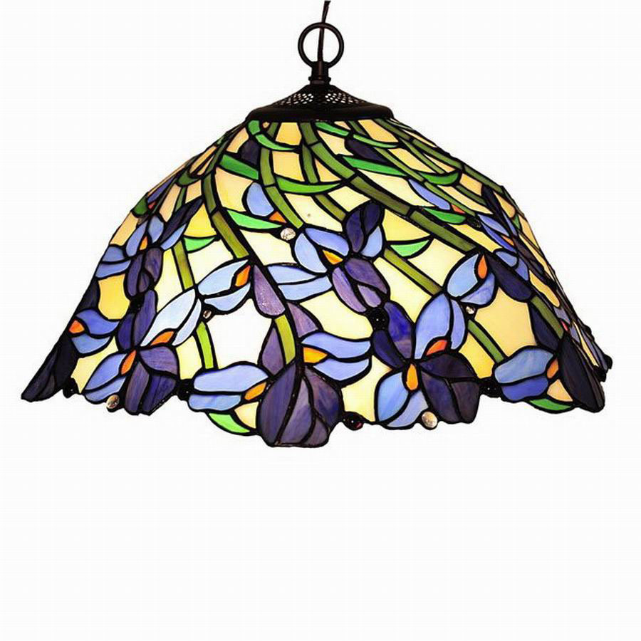 Shop Chloe Lighting Iris 19 In W Tiffany Style Pendant Light With Shade At Lo