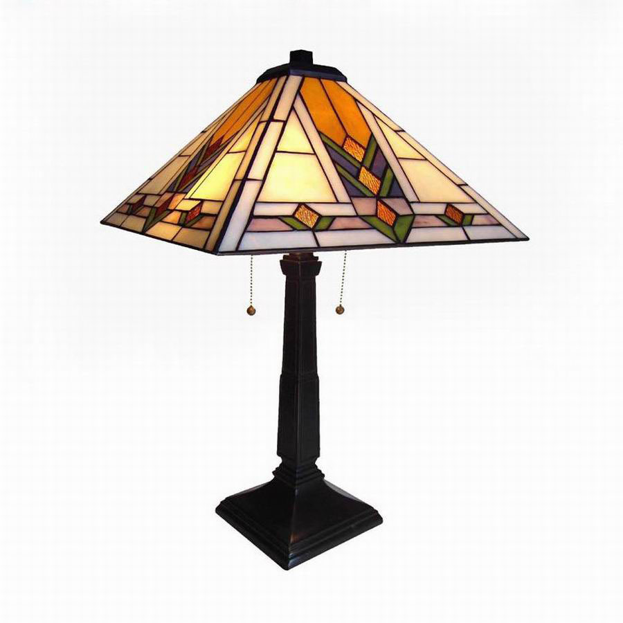 bronze tiffany style indoor table lamp with glass shade at. Black Bedroom Furniture Sets. Home Design Ideas