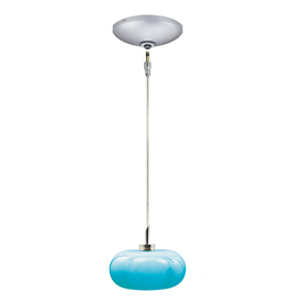 JESCO Jolly 5.375-in W Satin Nickel Art Glass Mini Pendant Light with Tinted Turquoise Glass Shade