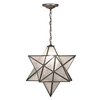 Meyda Tiffany Moravian Star 24-in W Mahogany Bronze Stained Glass Hardwired Standard Pendant Light with Clear Shade