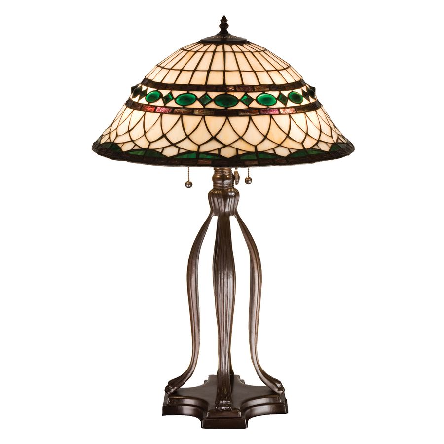 bronze indoor table lamp with tiffany style shade at. Black Bedroom Furniture Sets. Home Design Ideas