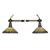 Meyda Tiffany Jeweled Peacock 12-in W 2-Light Mahogany Bronze Kitchen Island Light with Tiffany-Style Shade