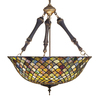Meyda Tiffany Fishscale 24-in W Mahogany Bronze Hardwired Standard Pendant Light with Tiffany-Style Shade