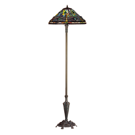 Meyda Tiffany Dragonfly 64-in Mahogany Bronze Tiffany-Style Indoor Floor Lamp with Glass Shade