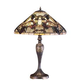 Meyda Tiffany 27-1/2-in Mahogany Bronze Tiffany-Style Table Lamp with Glass Shade