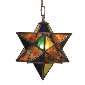 Moravian Star 12 In W Mahogany Bronze Stained Glass Pendant Light