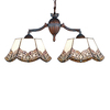 Meyda Tiffany Mariposa 14-in W 2-Light Verdi Washed Mahogany Bronze Kitchen Island Light with Tiffany-Style Shade
