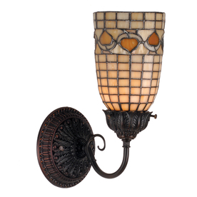 Lowes Tiffany Wall Sconces : Shop Meyda Tiffany Acorn 5-in W 1-Light Mahogany Bronze Tiffany-Style Arm Hardwired Wall Sconce ...