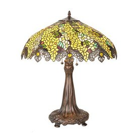 Meyda Tiffany 26-in Mahogany Bronze Tiffany-Style Table Lamp with Glass Shade