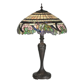 Meyda Tiffany 28-in Mahogany Bronze Tiffany-Style Indoor Table Lamp with Tiffany-Style Shade
