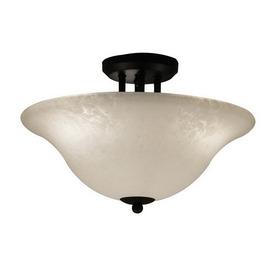 Z-Lite 16-in W Matte Black Art Glass Semi-Flush Mount Light