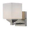 Z-Lite Quube 5-in W 1-Light Brushed Nickel Arm Hardwired Wall Sconce