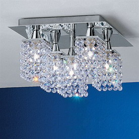 EGLO 12-in W Chrome Crystal Accent Semi-Flush Mount Light