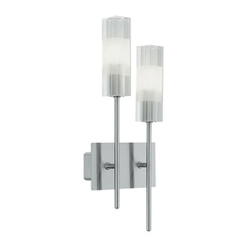 EGLO 6-in W Alessa 2-Light Matte Nickel Crystal Arm Wall Sconce