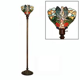 Warehouse of Tiffany Angelic 72-in Zinc Tiffany-Style Torchiere Indoor Floor Lamp with Glass Shade 2867+BB75B