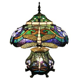 Warehouse of Tiffany 24-in Tiffany-Style Table Lamp with Blue Shade