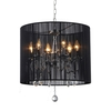 Warehouse of Tiffany 18.5-in W Chrome/Black Crystal Accent Pendant Light with Fabric Shade