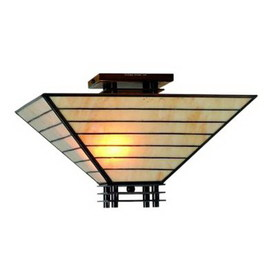 Warehouse of Tiffany 16-in W Brown Semi-Flush Mount Light