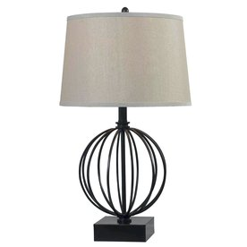 Kenroy Home Globus 26-in 3-Way Oil-Rubbed Bronze Table Lamp with Fabric Shade