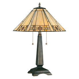 Kenroy Home Willow 24-in Bronze Tiffany-Style Table Lamp with Glass Shade