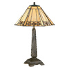 Kenroy Home Willow 20-in Bronze Tiffany-Style Table Lamp with Glass Shade