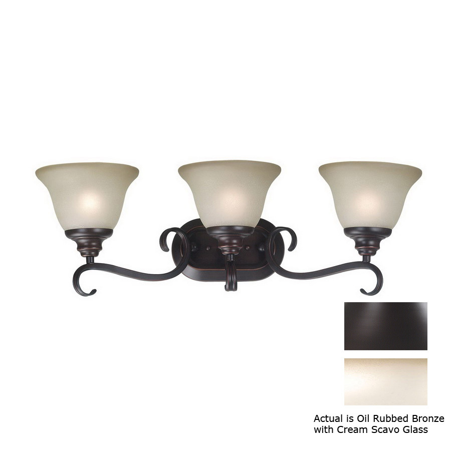 Lowes Vanity Lights Oil Rubbed Bronze : Shop Kenroy Home 3-Light Welles Oil-Rubbed Bronze Bathroom Vanity Light at Lowes.com