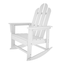 POLYWOOD Long Island White Recycled Plastic Rocking Casual Adirondack Chair