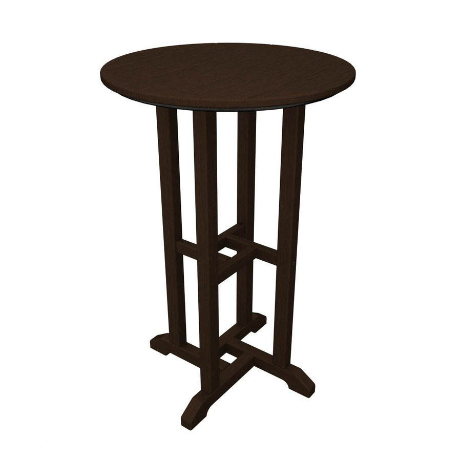 Counter Height Picnic Table : ... in Mahogany Recycled Plastic Round Patio Bar-Height Table at Lowes.com