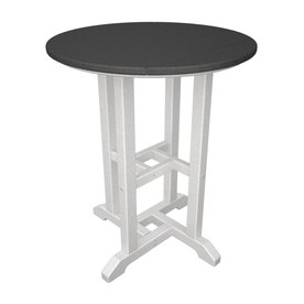 Recycled Plastic Top White Slate Grey Round Patio Dining Table