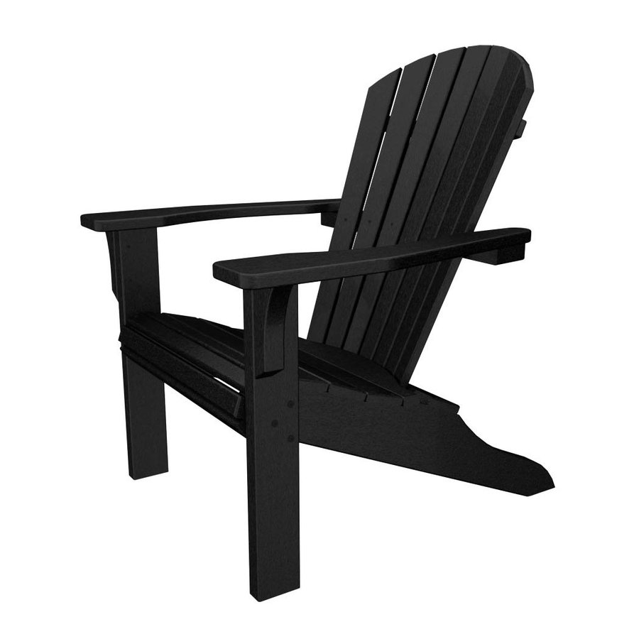 Shop POLYWOOD Seashell Black Recycled Plastic Casual Adirondack Chair ...