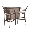 Hospitality Rattan Panama Jack 3-Piece Aluminum Patio Bar-Height Set