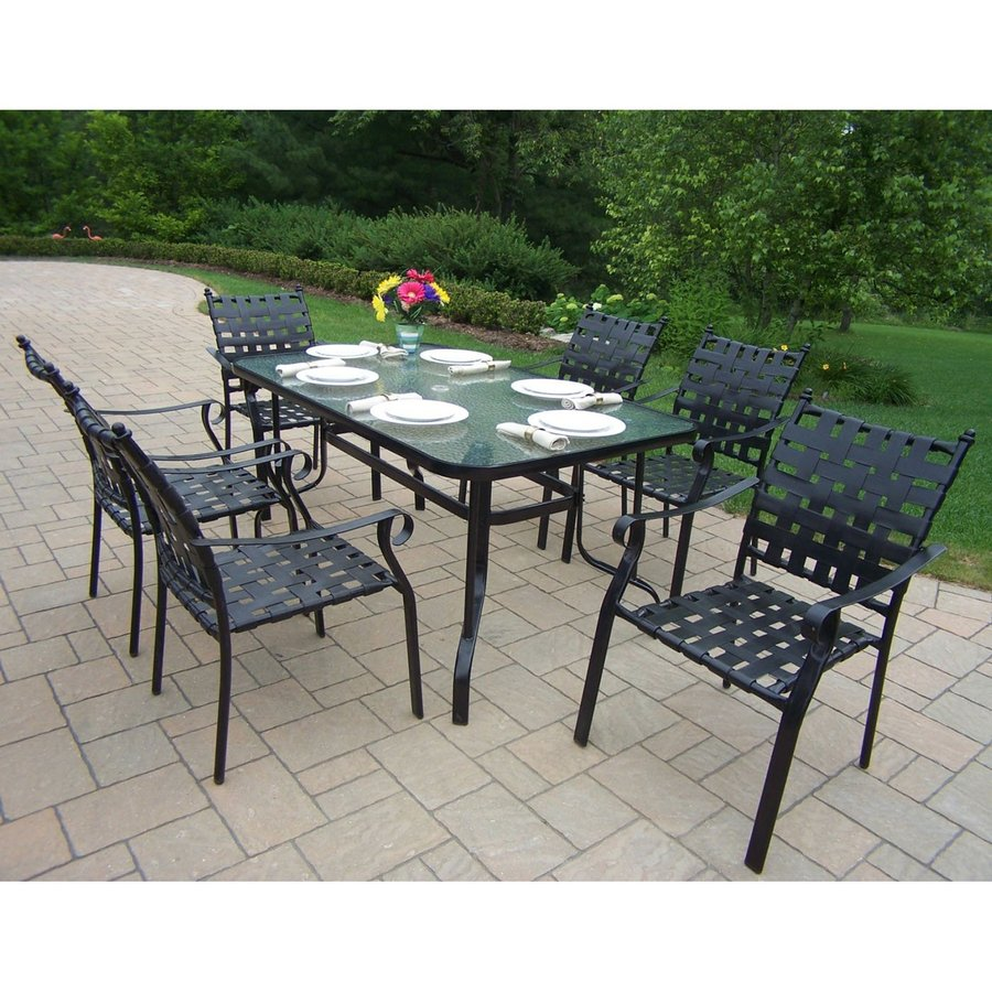 living 7 piece strap cast aluminum patio dining set at