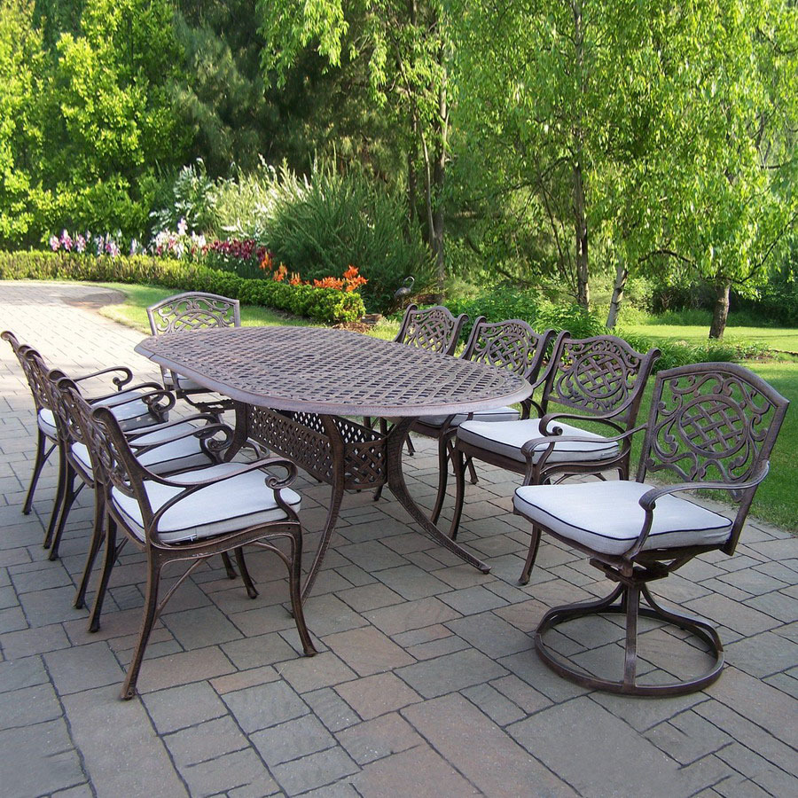 Shop Oakland Living 9 Piece Mississippi Cast Aluminum Patio Dining Set At