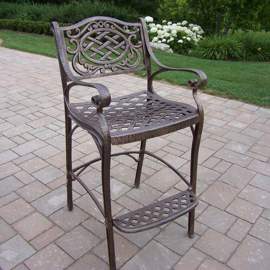 Shop oakland living mesh aluminum patio bar height chair for Mesh patio chairs