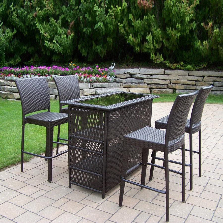 oakland living 5 piece woven steel patio bar height set at