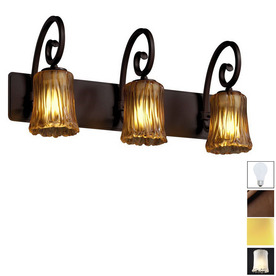 Art Glass Vanity Light : Shop Cascadia Lighting 3-Light Veneto Luce Victoria Dark Bronze Art Glass Bathroom Vanity Light ...