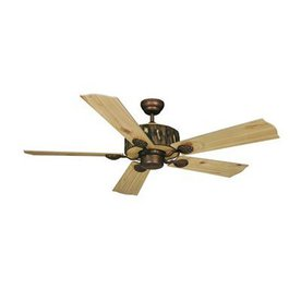 Cascadia Lighting 52-in Log Cabin Weathered patina Ceiling Fan