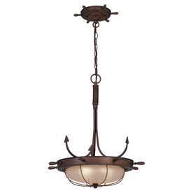 Cascadia Lighting Nautical 19-in W Antique Red Copper Pendant Light with Frosted Shade