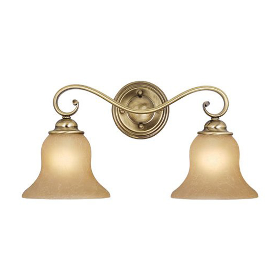 Shop Cascadia Lighting 2-Light Monrovia Antique Brass Bathroom Vanity Light at Lowes.com
