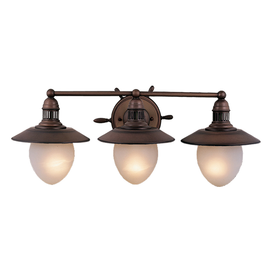 Fantastic Striking Three Light Bath Fixture Is From The Nautical Collection Bath Fixture Has An Antique Red Copper Finish Accented With Frosted Glass Shades Disclaimers Due To Manufacturer Policies, Additional Discounts Cannot Be Applied To This Item