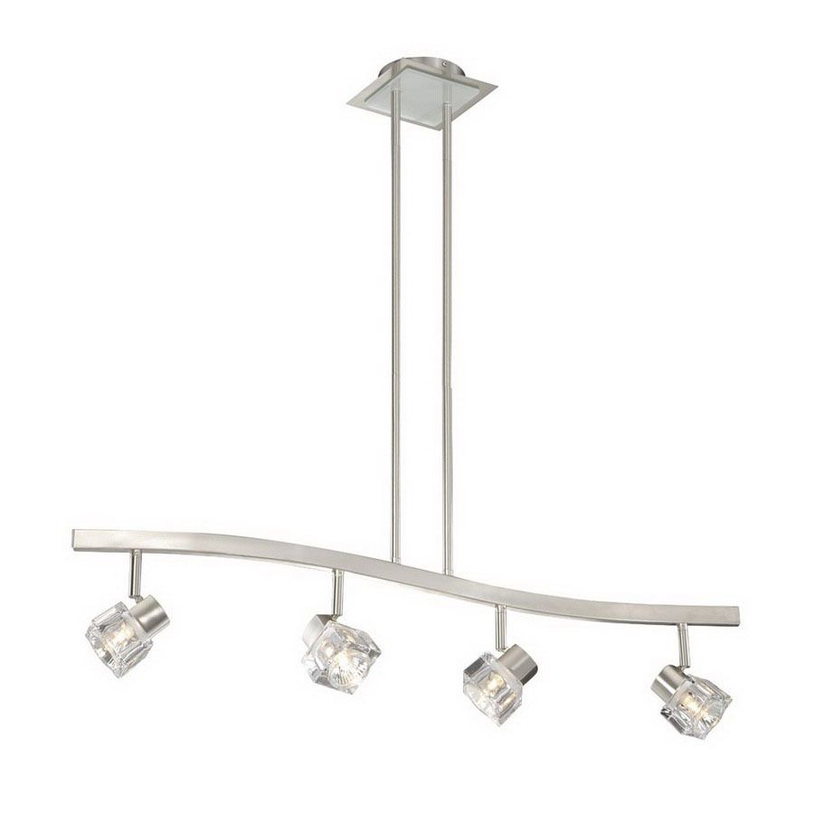 light satin nickel kitchen island light with clear shade at. Black Bedroom Furniture Sets. Home Design Ideas